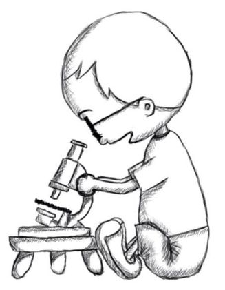 Sketch of Finn and his microscope
