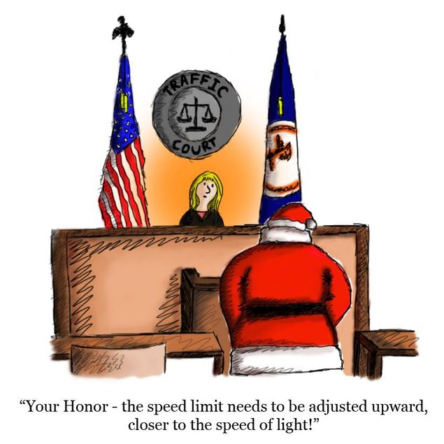 Single panel color drawing of Santa in traffic court